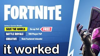 YOU CAN NOW GET FREE SAVE THE WORLD IN FORTNITE!