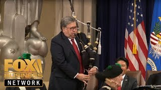 AG Barr plays bagpipes, speaks at US Attorneys