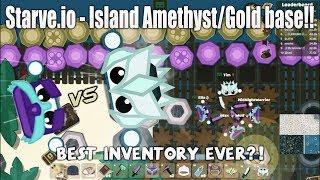 Starve.io - Amethyst Gear VS Dragon Gear, island Amethyst/Gold base, Best inventory ever?!