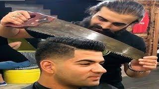 امهر 10 حلاقين فى العالم ، حلاق يحلق بمنشار ..!!!!