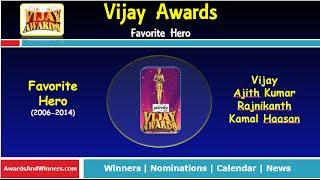 Vijay Awards - Favorite Hero (2006-2014)