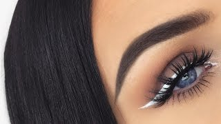 Taupe Eyes & Lips With White Eyeliner | Monotone Makeup Tutorial