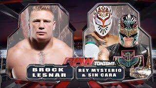WWE RAW 2014 - Brock Lesnar vs Rey Mysterio & Sin Cara - Full Match HD