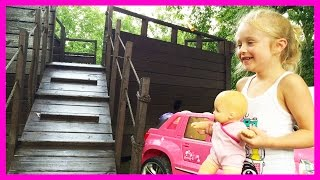 American Girl Bitty Baby Doll Playing in Rain Puddles at the Pirate Ship Park Playground for Kids