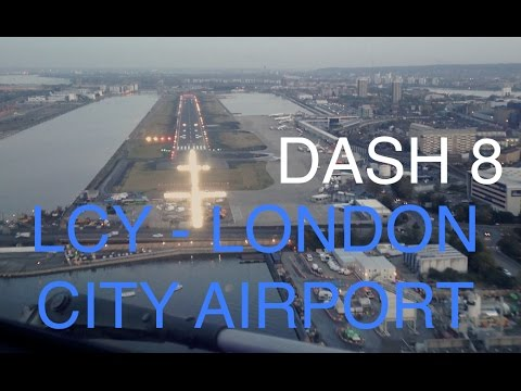 Dash8 Q400 Panoramic approach over London city - EGLC / LCY cockpit
