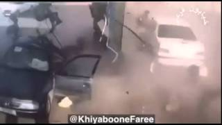 منفجر شدن مخزن گاز خودرو در پمپ بنزین