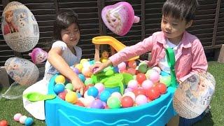 frozen elsa Ring Surprise Egg ウォーターテーブル おもちゃ アナと雪の女王 サプライズ エッグ ducks down the slide Water table Toy