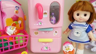 Baby doll pink refrigerator surprise eggs and kitchen toys play