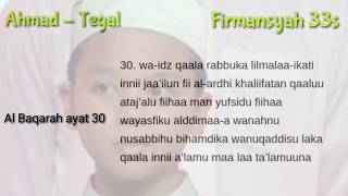Ahmad Tegal Bacaan serta tulisan latin Surah Al Baqarah ayat ( 30,32,34,36 )