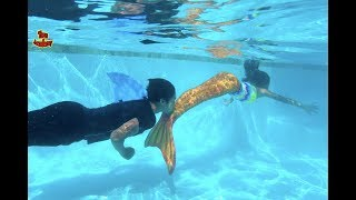 Mermaid VS Shark Pie Face Sky High! Family Game | Toys Academy