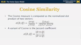 Lecture 17 — The Vector Space Model - Natural Language Processing | Michigan