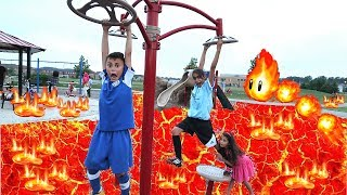 THE FLOOR IS LAVA CHALLENGE! Playground Family Fun Kids Pretend Playtime