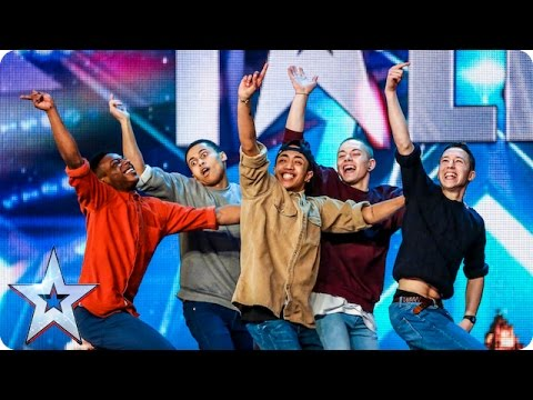 Golden buzzer act Boyband are back flipping AMAZING Audition Week 2 Britain s Got Talent 2015