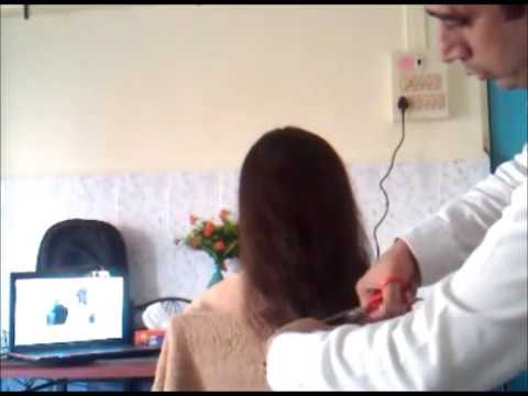 Pretty women long hair cut