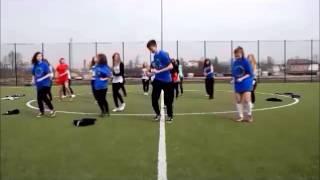 Flash mob na turnieju piłkarskim. 10 rocznica wstąpienia Polski do Unii Europejskiej.
