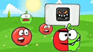 Новый Мультик игра Красный Шарик и Ам Ням получился ШароНям |Зеленые холмы уровень 1-15 Босс Квадрат