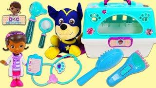 PAW PATROL Super Pup Chase Visits Doc McStuffins Pet Vet Toy Hospital for a Check Up!
