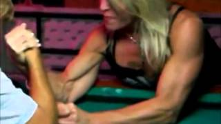 Mixed armwrestling on pool table?