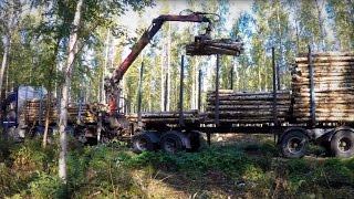 Timber truck loading - Puutavara-auton lastaus - GOPRO 4