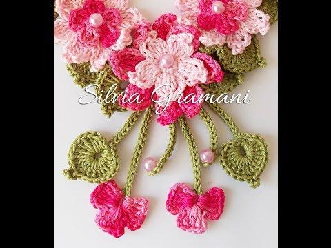 Colar Encanto - colar de crochê com flores