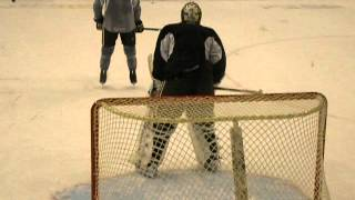 Braden Holtby locating the puck during deflection drill at HBH 2012 training camp.