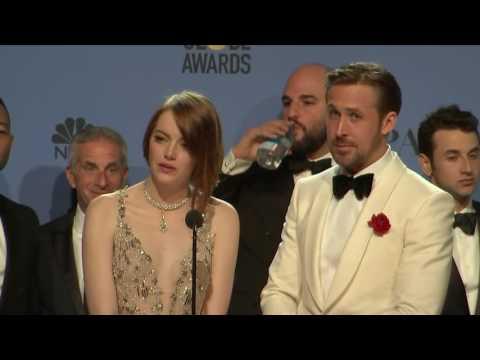 Ryan Gosling Emma Stone & La La Land Golden Globes 2017 Full Backstage Interview