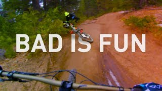 Bad is fun with the right MTB crew. A windy day on icy trails at Skypark.