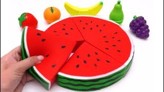 Microwave Surprise Cutting Fruit and Squishy Watermelon Banana Strawberry Learn Colors for Kids
