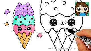 How to Draw Ice Cream Cone Easy | Pusheen