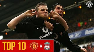 Top 10 | Manchester United Goals at Anfield | Premier League | Liverpool v Man Utd