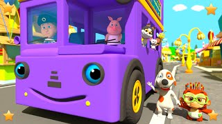 Purple Wheels On The Bus | Kindergarten Kids Songs | Nursery Rhymes Collection by Little Treehouse