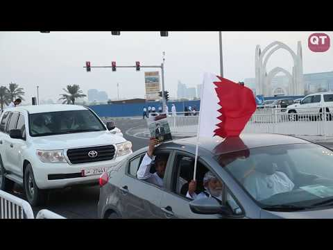 Crowds gather at Doha corniche to welcome the Qatar Emir His Highness SheikhTamim bin Hamad al Thani