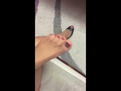Footjob home stocking