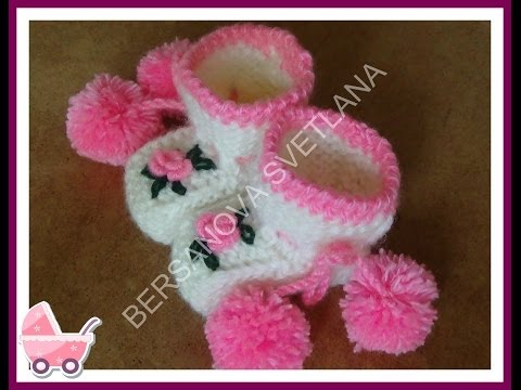 Пи� етки с розочками или как связать пи� етки спицами how to knit booties spokes