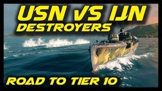 ► World of Warships: USN vs IJN Destroyers - Road to Tier 10 - Minekaze vs Nicholas - Tier 5