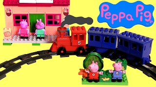Pig George e Peppa Pig na Estação de Trem Blocos tipo Lego Duplo TOYSBR Juguete Estación de Tren