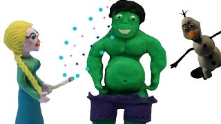 Does Elsa eat too much?  Play doh Frozen stop motion new clips with Hulk
