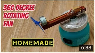 How to Make a 360° Rotating Fan - Homemade - Gautam technical