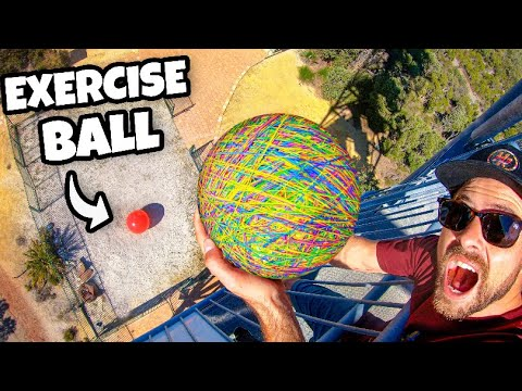 20kg Rubber Band Ball Vs. World's LARGEST Exercise Ball From 45m