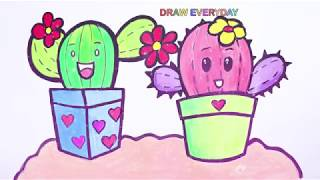 How to draw and Learn Coloring | Cactus cute and easy for kids || Draw Everyday