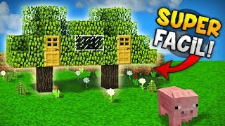 MINECRAFT: COMO HACER UNA CASA DENTRO DE UN ÁRBOL DOBLE SUPER GENIAL PARA SURVIVAL!! | SUPER FACIL!