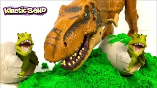 KINETIC SAND DINOSAUR EGG SURPRISE WITH T-REX TRICERATOPS STEGASAURUS & DINO EGGS DIG IT OUT FOSSIL