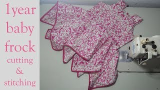 1year baby frock cutting and stitching full tutorial || summer frock cutting and stitching