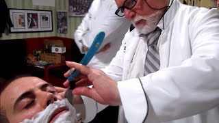 Old School Italian Barber - Shave with Straight Razor and hot towel - ASMR intentional sounds