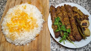 How to Make Persian Saffron Rice with Tahdig & Kabab Tabei (Pan Kebob) | Iranian Home Cooking Recipe