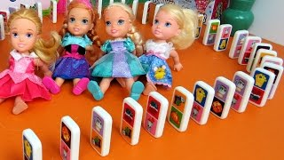 DOMINO Shopkins ! Elsa, Anna toddlers & friends play