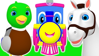 Kids Animal Train | Learn Counting Numbers & Sing Colors Songs for Children | Teach ABCs & 123s