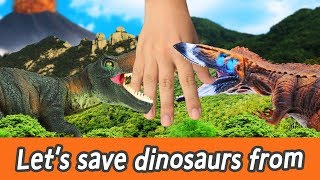 [EN] #86 Let's save dinosaurs from volcanic eruption, kids education,  CollectaㅣCoCosToy