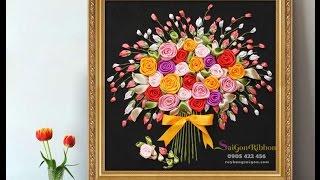 Hướng dẫn thêu tranh ruy băng bó hoa hồng