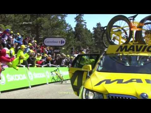 Accidente de Froome en Mont Ventoux Tour de francia 2016. Imágenes de Teledeporte TVE